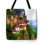 Famous Tigers Nest Monastery Of Bhutan 11 Tote Bag
