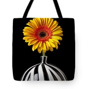 Fancy Daisy In Stripped Vase  Tote Bag