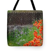 Fancy Foot Bridge And Poppies Tote Bag