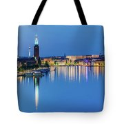 Fantastic Stockholm And Gamla Stan Reflection From A Distant Bridge Tote Bag