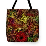 Fantasy Flowers Woodcut Tote Bag