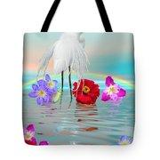 Fantasy Stork-flowers-rainbow On Ocean Tote Bag