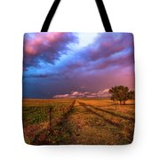 Far And Away - Open Prairie Under Colorful Sky In Oklahoma Panhandle Tote Bag