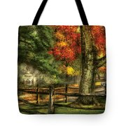 Farm - Fence - On A Country Road Tote Bag