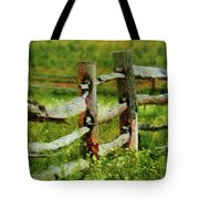 Farm - Fence - The Old Fence Post  Tote Bag