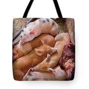Farm - Pig - Five Little Piggies And A Chicken  Tote Bag