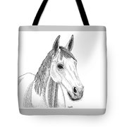 Farm Horse In Pointillism Tote Bag