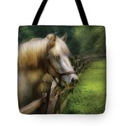 Farm - Horse - White Stallion Tote Bag