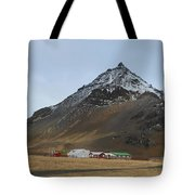 Farm Houses At The Base Of Mt Stapafell In Iceland Tote Bag