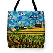 Farm On Hwy 28 Framed  Tote Bag