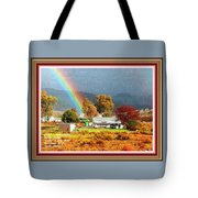 Farm Scene With Rainbow After Some Rains L A With Decorative Ornate Printed Frame. Tote Bag