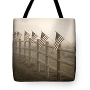 Farm With Fence And American Flags Tote Bag
