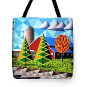 Farm With Three Pines And Cow Tote Bag