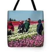 Farm Workers In Tulips Tote Bag
