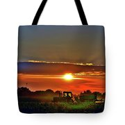 Farmer And A Sunset. Tote Bag