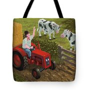 Farmer Visiting Cows In Field Tote Bag by Martin Davey