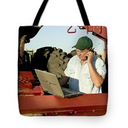 Farmer With Laptop And Cell Phone Tote Bag