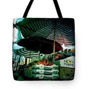 Farmers Market With Striped Umbrellas Tote Bag