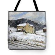 Farmhouse Snowman Tote Bag