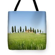 Farmhouse With Cypress Trees And Crops In Tuscany Tote Bag
