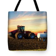 Farming April In The Field On The Case 500 Tote Bag