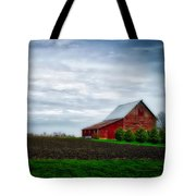 Farming Red Barn On A Quite Spring Day Tote Bag