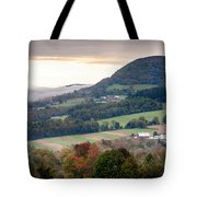 Farms Under The Morning Fog Tote Bag