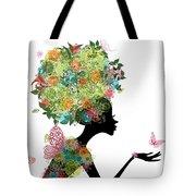 Fashion Girl With Hair Arabesque Tote Bag