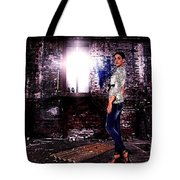 Fashion Model In Jeans  Tote Bag