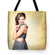 Fashionable Girl In Classic 50s Style Clothing Tote Bag