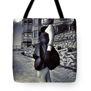 Fashionable Woman And Mansion Tote Bag