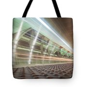 Fast Moving Long Exposure Of Subway Train Underground Tunnel Tote Bag