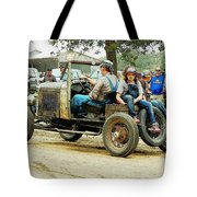 Father And Daughter In The Tractor Parade Tote Bag