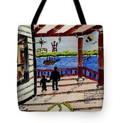 Father And Son On The Porch Tote Bag