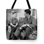 Father And Son Talking And Smiling Tote Bag