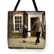 Father And Son Walking Towards Georgian Entrance Tote Bag