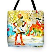 Fearless Girl And Wall Street Bull Statues 6 Watercolor Tote Bag