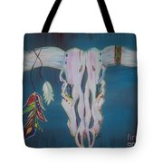 Feather Bull Skull  Tote Bag