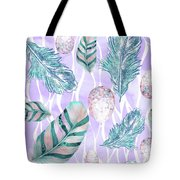 Feathers And Spotted Bird Eggs Woodland Nature Pattern Tote Bag