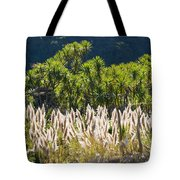 Feathery White Plants Tote Bag