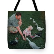 Feeding Ducks With Daddy Tote Bag