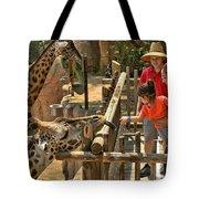 Feeding Giraffe 2 Tote Bag
