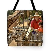 Feeding Giraffe 3a Tote Bag