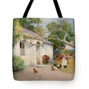 Feeding The Hens Tote Bag by Arthur Claude Strachan