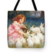 Feeding The Rabbits Tote Bag by Frederick Morgan