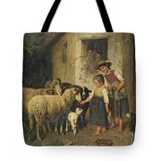 Feeding The Sheep Tote Bag