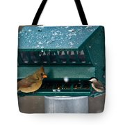 Feeding Time At The Bird Trough Tote Bag