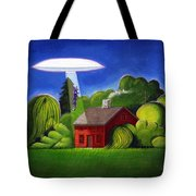 Feline Ufo Abduction Tote Bag
