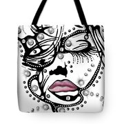 Female Abstract Face Tote Bag by Darren Cannell