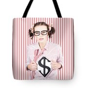 Female Business Superhero Showing Dollar Sign Tote Bag